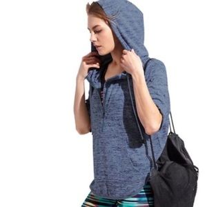 Athleta short sleeve hooded top. Oversized XS